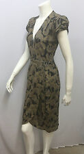 JUST CAVALLI WRAP DRESS SIGNED FLORAL PRINTED BLACK METALLIC BRONZE PEWTER 38 XS