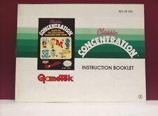 Classic Concentration manual - no game .... NES Nintendo
