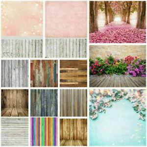 3x5/5x7FT Pink/Retro/Wood Plank/Flower Wall Background Photography Backdrops