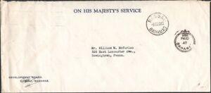 """BAHAMAS, 1948. OHMS """"Crown Paid"""", Nassau - Downington, Pa"""