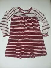 Hanna Andersson 110 Dark Red Rust White Striped Play Dress Mint sz 5 long sleeve