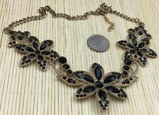 Fashion Necklace Acrylic Black Rhinestone Textured Flowers Statement Choker