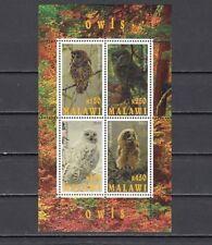 Malawi, 2010 Cinderella issue. Owls sheet of 4.