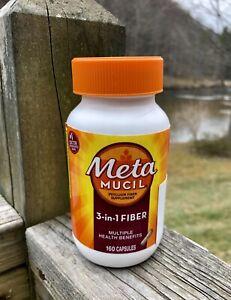 Metamucil Psyllium Fiber Supplement 3-in-1 fiber vitamin GI stomach 160 Capsules