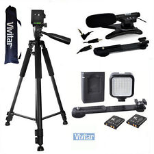 "VIVITAR MICROPHONE + 36LED LIGHT +72"" TRIPOD FOR CANON EOS REBEL 6D 7D 5D 80D"