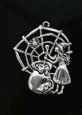 "large WITCH SPIDER WEB HALLOWEEN FANTASY charm 18"" Sterling Silver 925 necklace"