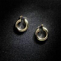 Boucles d'oreilles Creole Doré Anneau Rond Creux Simple 29mm Plaqué Or 14K M5