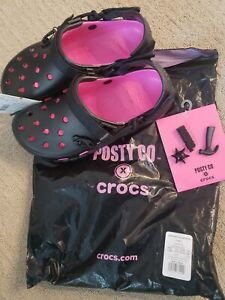 Post Malone x Crocs+ Jibbitz Pack Men Size10 Hot Pink/Black Posty Co