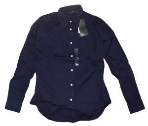 Polo Ralph Lauren Women's Non Iron Long Sleeve Button Down Navy Shirt Size S NWT