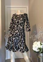 Stunning Caroline Morgan Black & Tan  Lace Dress, Size 10