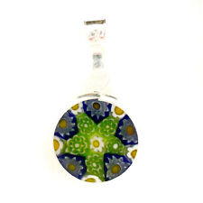 Murano Glass Pendant Green Blue White Sterling Silver Circular 12mm Diameter
