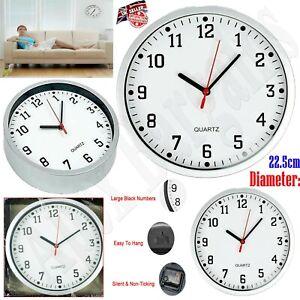 Quartz Large Wall Clock Vintage Round Modern Numerals Home Office Bedroom Garage