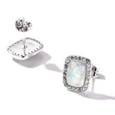 Handmade Rectangle White Fire Opal Gems Silver Stud Hook Earrrings With Zircon
