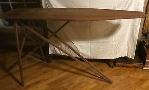 "Vintage Antique Wood Ironing Board Table 47""x15"" Folding Wood Legs Mid Century"
