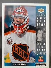 1993-94 Upper Deck McDonalds #MCD-23 Patrick Roy All Star Canadiens Hockey Card