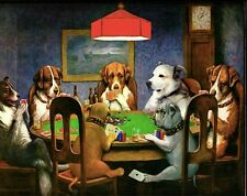 "Dogs Playing Poker Vintage Fabric poster 32"" x 24"" Decor 03"