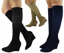 Faux Suede Wedge Knee High Boots Casual Shoes for Women