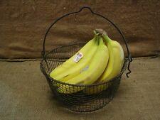Vintage Metal Wire Basket > Antique Old Garden Kitchen Baskets Boxes Barrel 6442