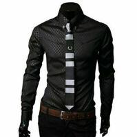 Fashion Mens Luxury Casual Dress Shirt Stylish Slim Fit Long Sleeve Men Shirts #