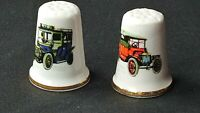TWO VINTAGE ILLUSTRATED 1920S CARS BONE CHINA SOUVENIR THIMBLE