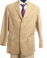 Ralph Lauren Sakko Jacket Gr.52 beige uni Einreiher 3-Knopf Baumwolle -S470