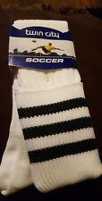 TCK Premier 3-Stripe Green Soccer Elite Knee High Turn Down Top Mesh Socks