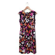 Oscar de la Renta Dress 6 Floral Print Black Multi Color Pencil Silk Women $2K