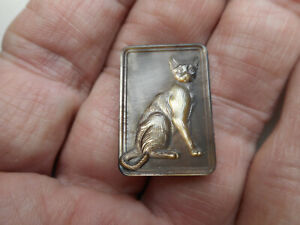 """Carved MOP Sitting Cat New Button Smoky Iridescent Rectangle 15/16"""" NP"""