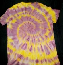 """Mens cotton Tie dye T-shirt """"Maroon Yellow spiral"""", size Large, new"""