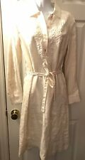 New $129 TALBOTS Off White Linen Shirt Dress Beaded Embroidered Sz 10