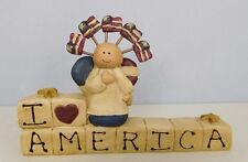 I Love America with lots of flags - New resin block by Blossom Bucket #2459