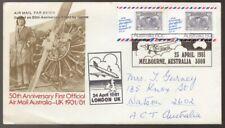 1981 Air Mail Australia - UK London to Melbourne Postmark Flight Cover