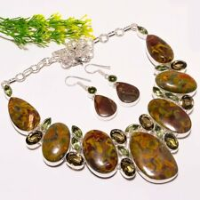 Rhyolite Jasper, Smokey Topaz, Green Amethyst Fashion Jewelry Necklace Earring S