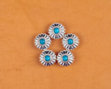 10PC 16MM WESTERN FLORAL TURQUOISE BLING SLIVER SCREWBACK LEATHERCRAFT CONCHOS