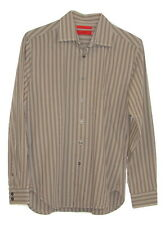 Alfani Fitted Mens Grey Striped 100% Cotton Long Sleeve Button Down Shirt Small