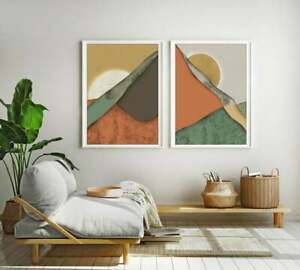 Nature Modern Wall, Abstract Panorama Diptych, Mid-century Landscape Scandinavia