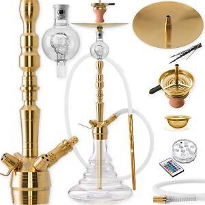 DILAW® Shisha Set Edelstahl GOLD V2A 93cm Hookah Wasserpfeife Molassefänger