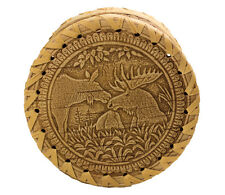 "New Birch Bark Ring Jewelry Trinket BOX (""Moose"") HANDMADE DIAMETER 12.0сm"
