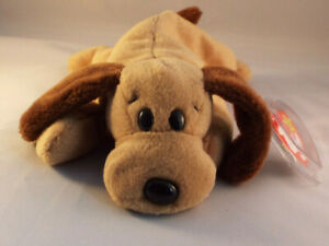 TY BEANIE BABY BONES the dog  born 1994 -  MINT - RETIRED RARE PVC PELLET