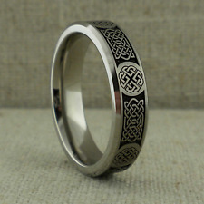 6 mm Wide Titanium Celtic Knot Wedding Ring Band Made in the Uk Size 11.5