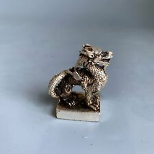 Collectable Handwork Old Tibet Silver Carve Might Dragon Seal Auspicious Statue