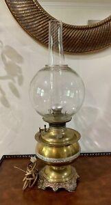 ANTIQUE VINTAGE GWTW B&H BRASS CONVERTED OIL LAMP GLOBE BRADLEY HUBBARD LIGHT