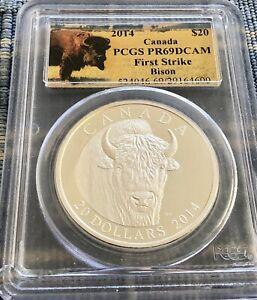 2014 Canada $20 Bison .9999 1 Oz Silver Coin - Bison PCGS PR69 First Strike