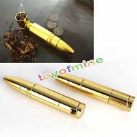 80mm Aluminum Bullet Golden Tobacco Pipe Smoking Cigarette Pipes Holder