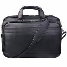Mens PU Leather Briefcase Messenger Bag Laptop Bag Adjustable Strap Large Black