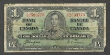 1937 $1.00 BC-21d aVG King George VI COYNE-Towers Bank of Canada OLD One Dollar