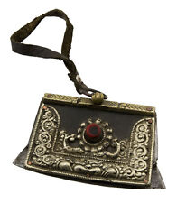 Ancien Briquet tibétain à silex cuir  fer corail Himalaya Tibet 25704 MS