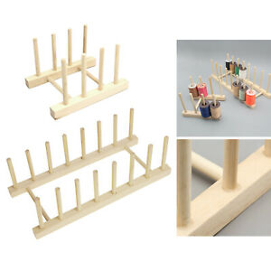 Premium 8/16-Spool Thread Rack Stand Beechwood Sewing & Embroidery Cone Holder