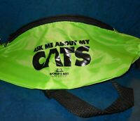 Ask Me About My Cats Green Fanny Pack Never used