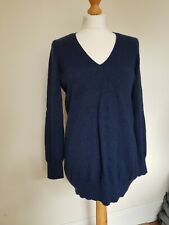 autograph m&s size 16 blue cashmere pure 100% v.neck jumper #69